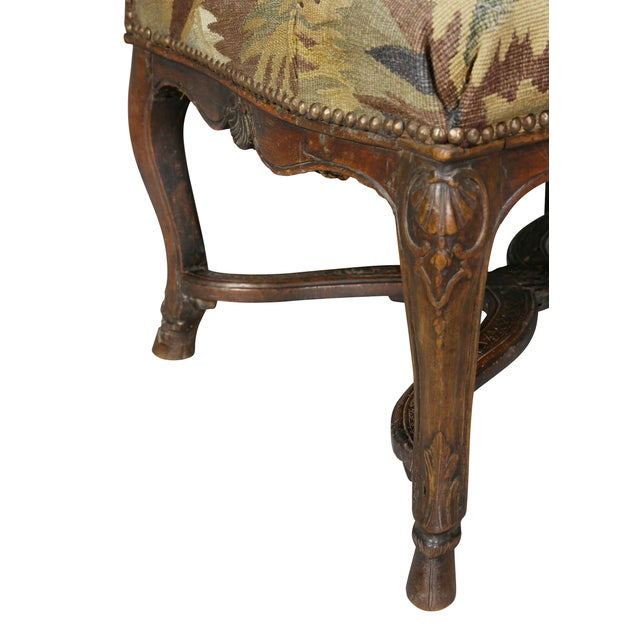 Regency Walnut and Tapestry Armchair For Sale In Boston - Image 6 of 12