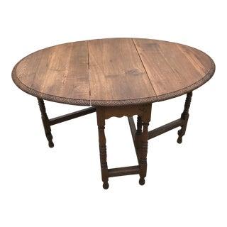 Vintage Carved Top Oak Gate Leg Table For Sale