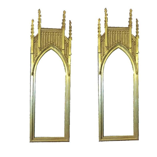 Pair of Pugin Style Gothic Giltwood Mirrors ~9 Feet Tall For Sale In Boston - Image 6 of 7