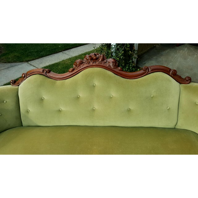 Antique Green Velvet Carved Wood Sofa - Image 7 of 7