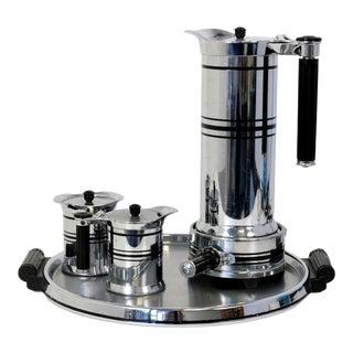 Midcentury Art Deco Chrome & Bakelite Coffee Set