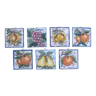 Late 20th Century Vintage Fratantoni Ceramiche for Vietri Hand Painted Terracotta Tiles - Set of 7 For Sale