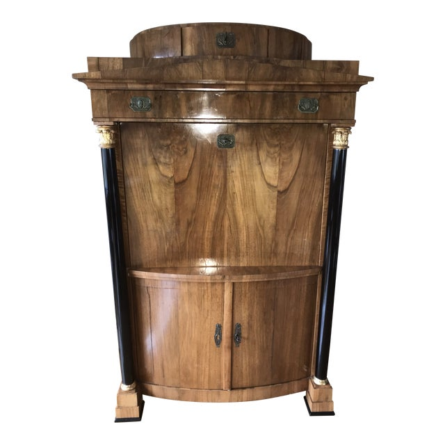 """German antique satin and black with gold highlights. 44"""" w x 22"""" d x 69"""" h opening 41"""" deep 3 top drawers, bottom cabinet,..."""
