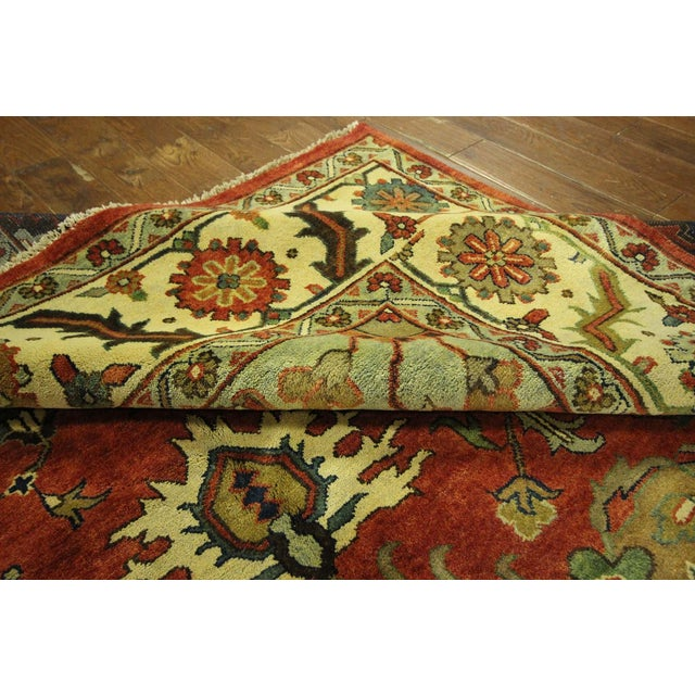"Red & Ivory Heriz Serapi Knotted Rug - 9'10"" x 14' - Image 9 of 10"