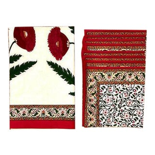 Brigitte Singh Hand Block Printed Tablecloth and Napkins - 9 Piece Set For Sale