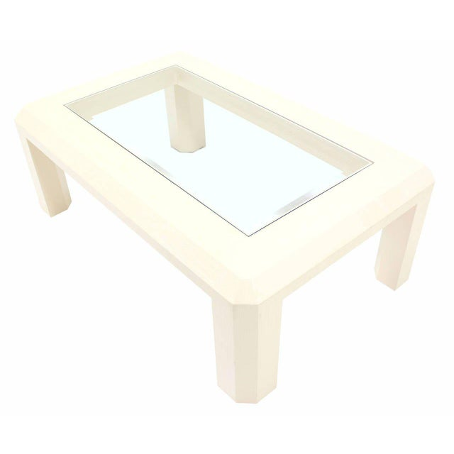 Mid-Century Modern Textured Grass Cloth Rafia Rectangular Glass Top Coffee Table For Sale - Image 6 of 9