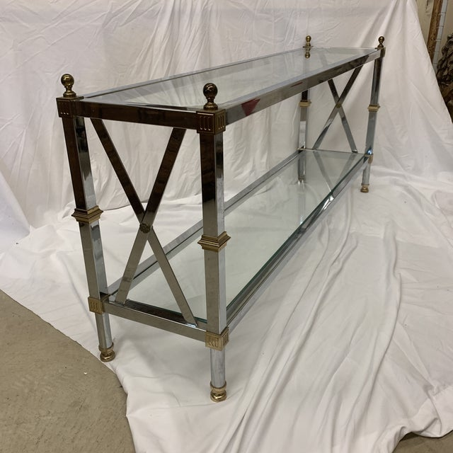 Maison Jansen Style Chrome Brass Console For Sale - Image 12 of 12