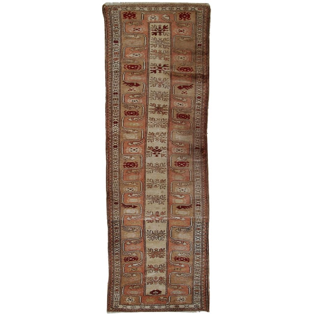 "1940s Vintage Turkish Oushak Handmade Runner - 2'5"" x 8' For Sale"