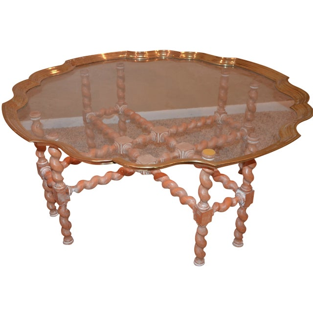 Brass & Glass Scalloped Tray Coffee Table - Image 1 of 4