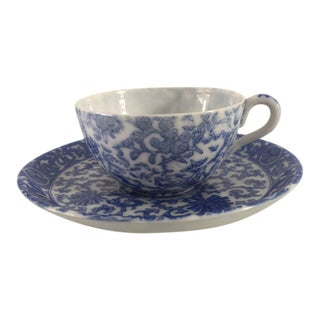 Antique Asian Blue & White Demitasse Cup & Saucer - A Pair