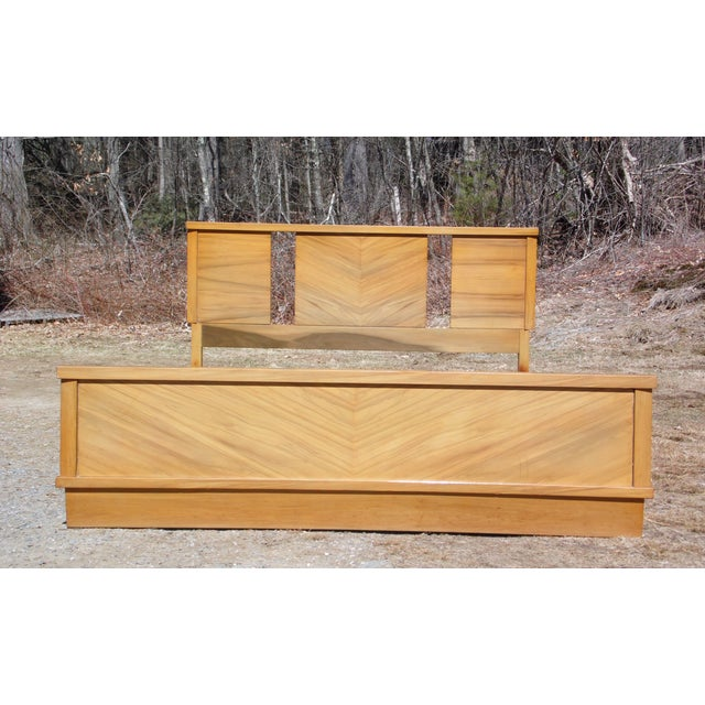 Vintage 1950's Mid Century Modern Art Deco style Double Full Bed Frame For Sale - Image 9 of 10