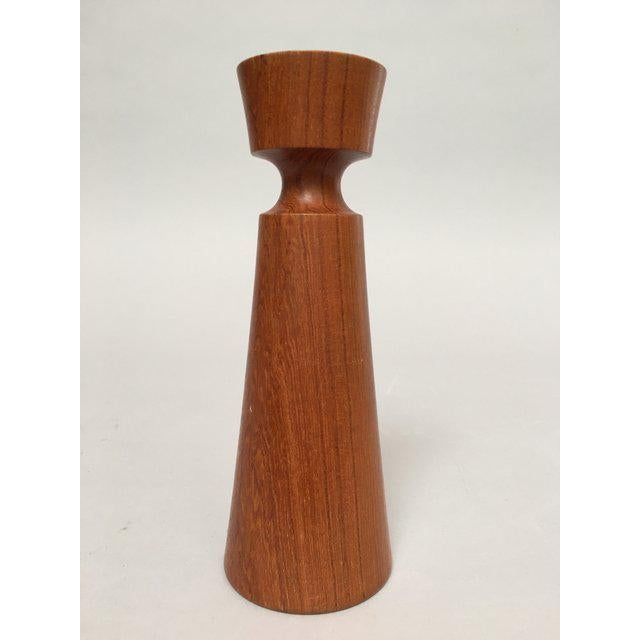 Kesa Danish Modern Teak Candle Holders - Set of 3 For Sale In New York - Image 6 of 11