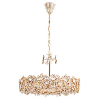 One of Eight Palwa Brass and Crystal Glass Encrusted Chandeliers, Model S101 For Sale