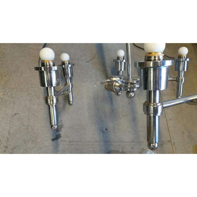 Metal Italian Machine Age Art Deco Chandelier Pietro Chiesa For Sale - Image 7 of 8