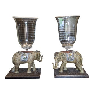 Elephant Hurricane Candle Holders - A Pair For Sale
