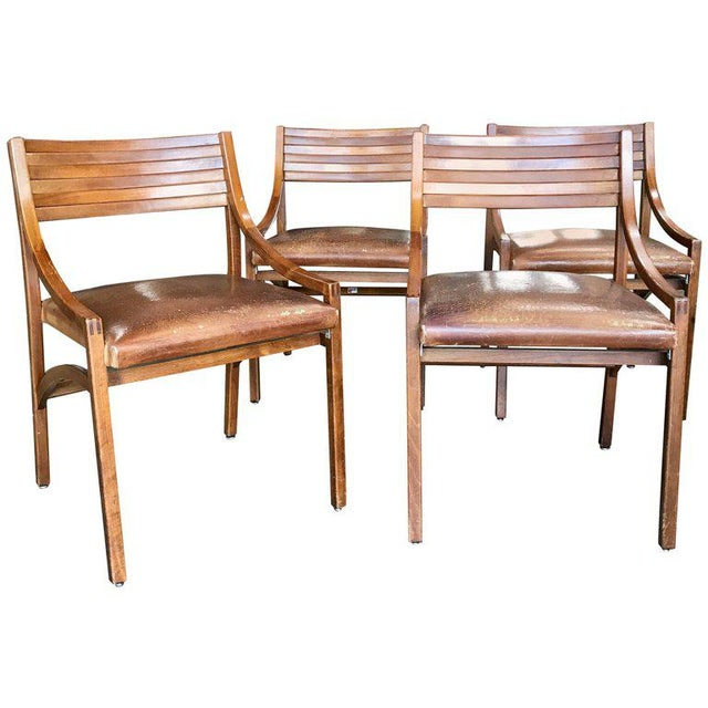 Ico Parisi Mod 110, Italian Walnut and Leather Dining Chairs 1959 For Sale - Image 9 of 9