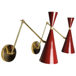 Blueprint Lighting Italian Modern Brass & Blood Red Enamel Monolith Sconces For Sale