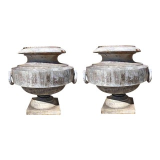 Late 19th Century Cast Iron Circular Form Urns - a Pair For Sale