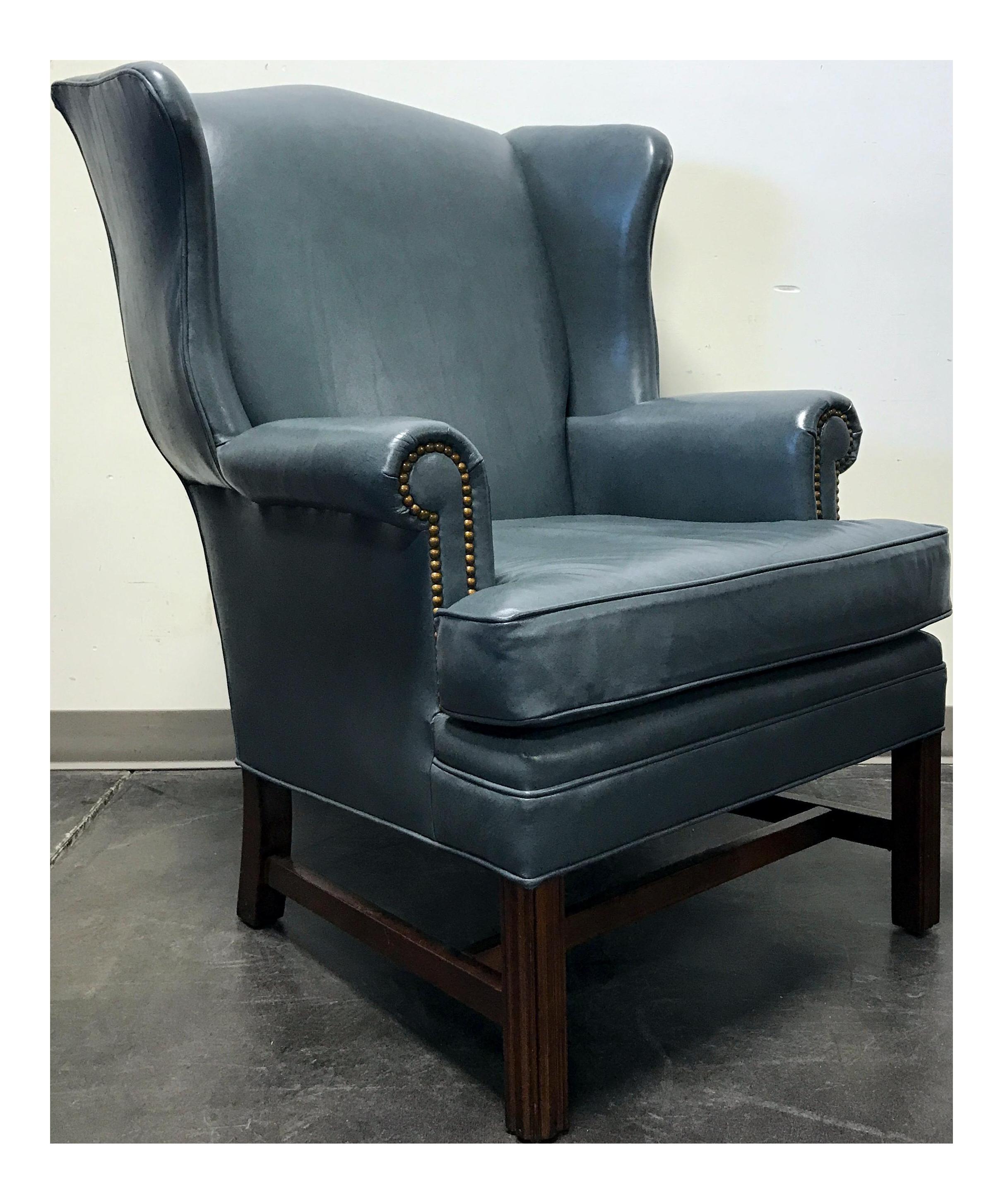 Leathercraft Slate Blue Leather Wing Back Chair  sc 1 st  Chairish & Leathercraft Slate Blue Leather Wing Back Chair | Chairish