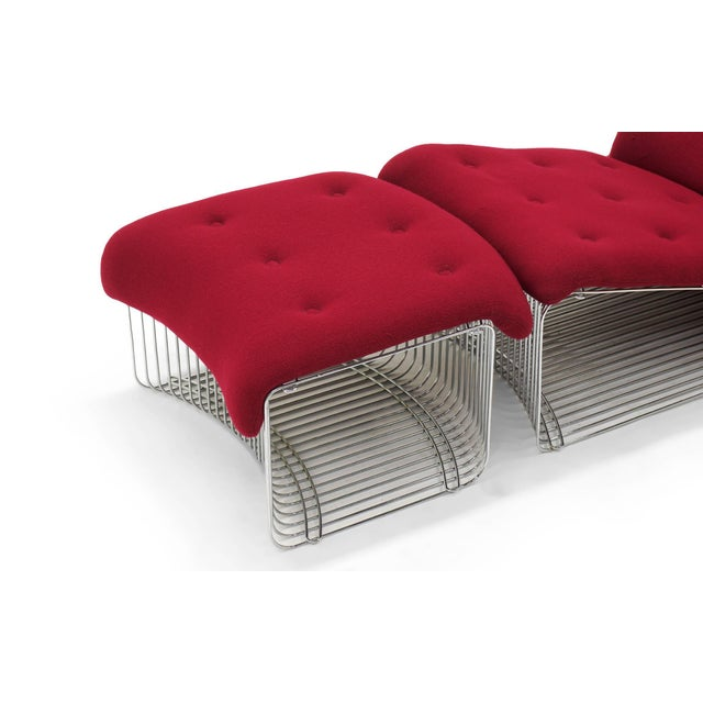 Metal Pantonova Chaise or Chair and Ottoman by Verner Panton, Fine and Rare Example For Sale - Image 7 of 9
