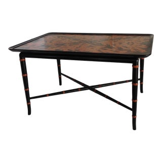 Faux Bamboo and Faux Tortoise Table For Sale