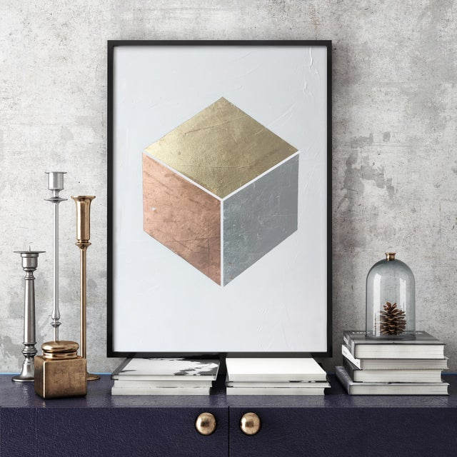 Abstract Gilded Cube No. 1 - 36x48 For Sale - Image 3 of 5