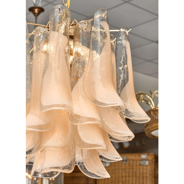 """Peach Murano Glass """"Selle"""" Chandeliers - a Pair For Sale - Image 4 of 10"""