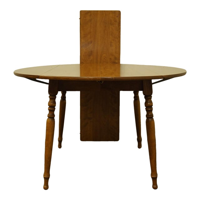 "Vintage Ethan Allen Heirloom Nutmeg Maple 29"" Round Drop Leaf Dining Table For Sale"