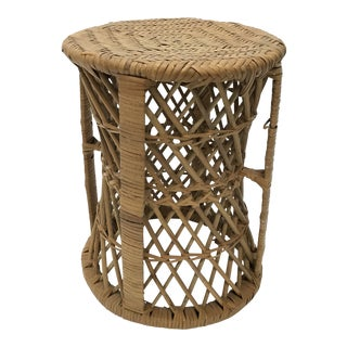 Wicker and Bamboo Side Table / Stool For Sale