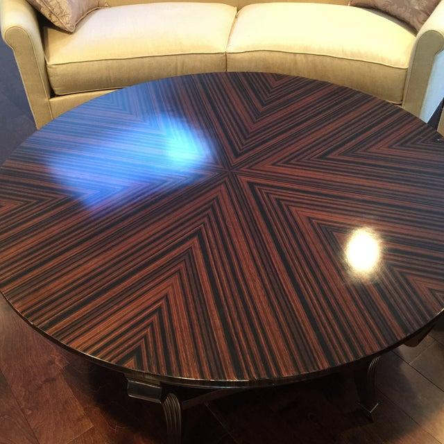 Herringbone Inlay Round Coffee Table - Image 4 of 4