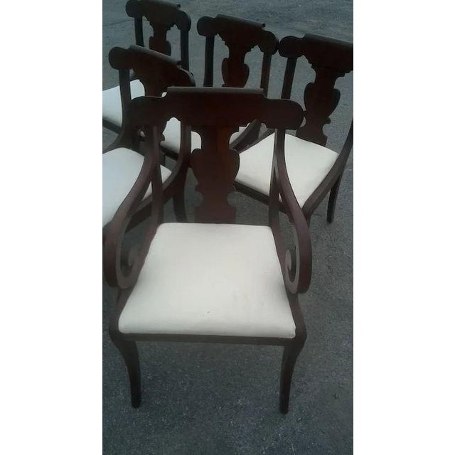 Regency Dining Chairs With Scrolled Arm - Set of 6 For Sale - Image 9 of 12