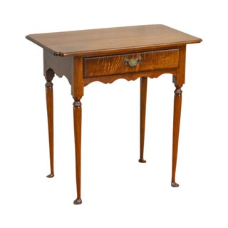 Custom 19th Century Style Walnut Queen Anne 1 Drawer Side Table by James English