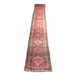 1950s Vintage Turkish Oushak Runner Rug - 2′7″ × 14′3″ For Sale