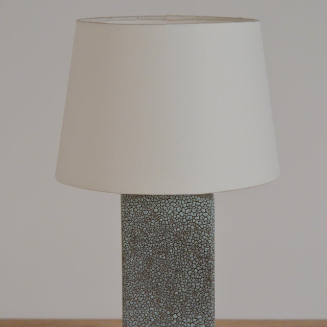 Art Deco Shagreen Glaze Ceramic Lamp With Parchment Shade For Sale In Los Angeles - Image 6 of 11