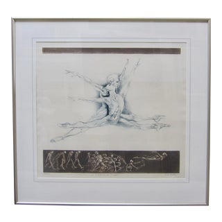 "1970s Vintage G. H. Rothe ""School of Flight"" Ballet Dancer Anatomical Mezzotint Print For Sale"