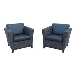 National Modern Contemporary Monterrey Leather Lounge Chairs - a Pair For Sale