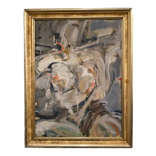 Grey and Pink Abstract Figure in Antique Frame For Sale
