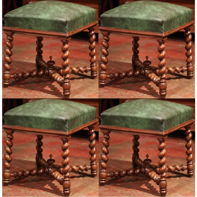 Green Set of Four 19th Century French Louis XIII Carved Barley Twist Leather Stools For Sale - Image 8 of 8
