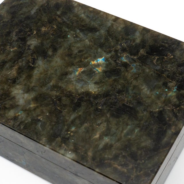 Early 21st Century Labradorite Semi Precious Stone Box with Hinged Lid For Sale - Image 5 of 7
