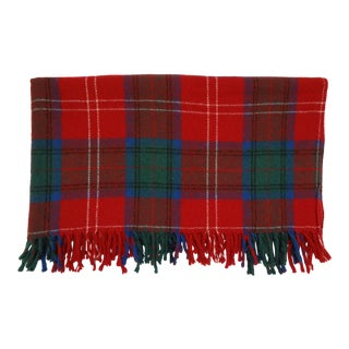 Vintage Faribault Faribo Red and Green Plaid Virgin Wool Throw Blanket For Sale