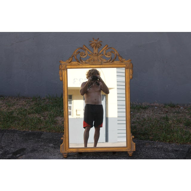 1940's Neoclassical Style Carved Walnut Wall Mirror For Sale - Image 13 of 13