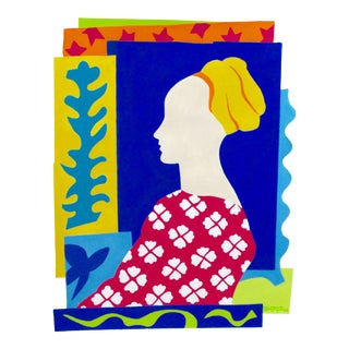 Modern The Lady and Matisse Modern, 20 X 16 Inches, Acrylic Paint on Archival Paper, 2016 For Sale