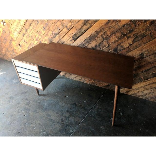 Custom Large Mid Century Style Walnut Desk For Sale - Image 4 of 11