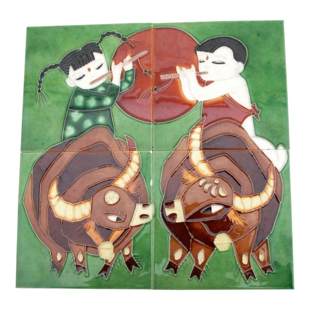 Vintage Harris G. Strong Style Indian Boy & Girl on Bulls Art Pottery Tiles - Set of 4 For Sale
