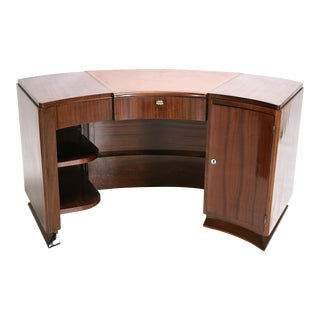 French Art Deco Semicircular Walnut Desk C.1930 For Sale