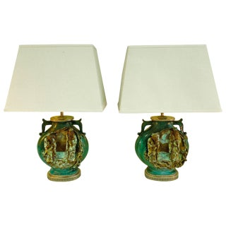 Rare Pair of Fantoni Chinoiserie Mid-Century Lamps For Sale