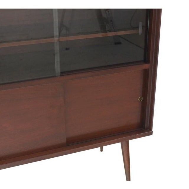 Mid-Century Modern Walnut Cabinet with Sliding Glass Doors For Sale - Image 4 of 6