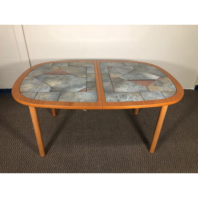 Wood Danish Teak and Tile Extending Dining Table Seats 10 For Sale - Image 7 of 13