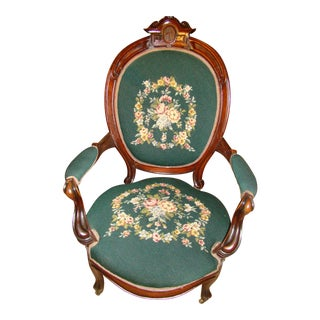 Carved Victorian Needlepoint Chair For Sale