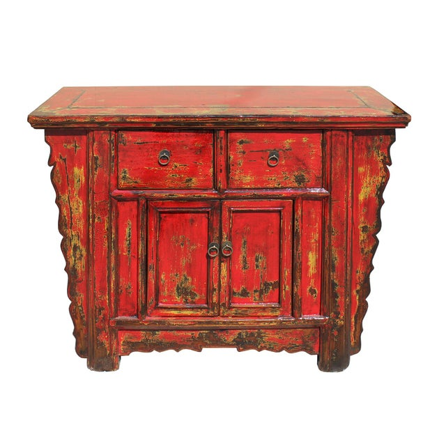 Asian Chinese Rustic Rough Wood Distressed Red Side Table Cabinet For Sale - Image 3 of 9